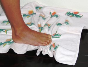 feet on towel