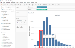 tableau, bins, bar, chart, distribution, age, data, science