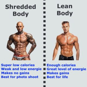 shredded lean lose weight vs versus